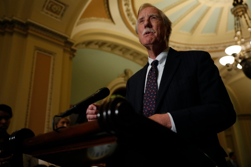 Sen. Angus King (I-ME) speaks with reporters following the weekly policy luncheons at the U.S. Capitol June 26, 2018 in Washington, DC.