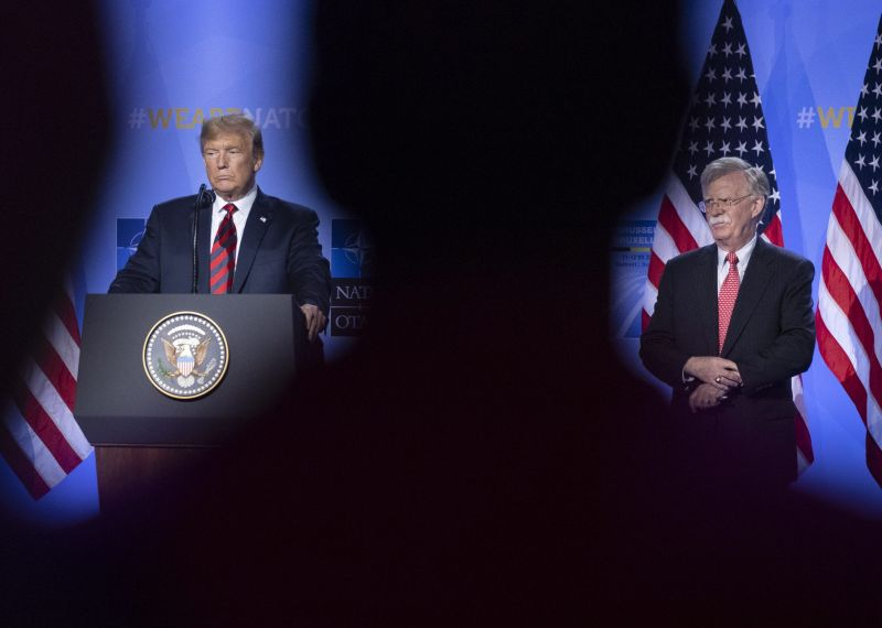 U.S. President Donald Trump and National Security Advisor John Bolton during a news conference at the 2018 NATO Summit in Brussels, on July 12, 2018.