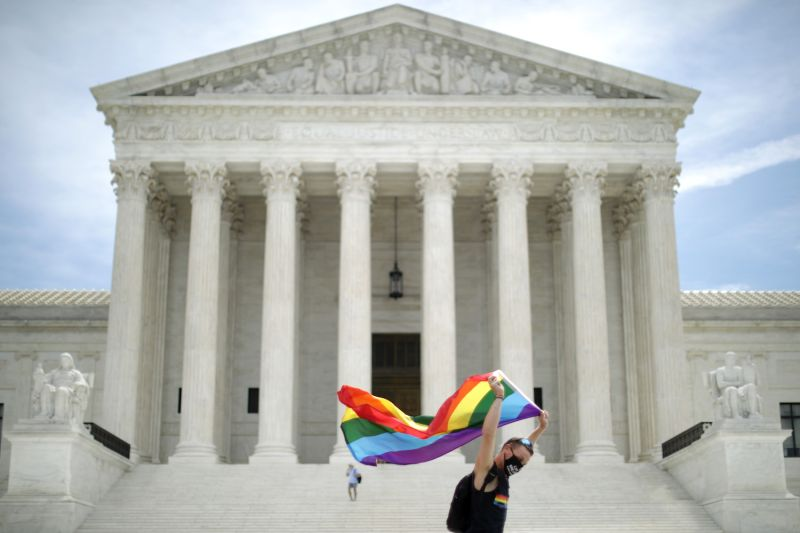 Joseph Fons holding a gay pride flag in front of the U.S. Supreme Court building in Washington on June 15.