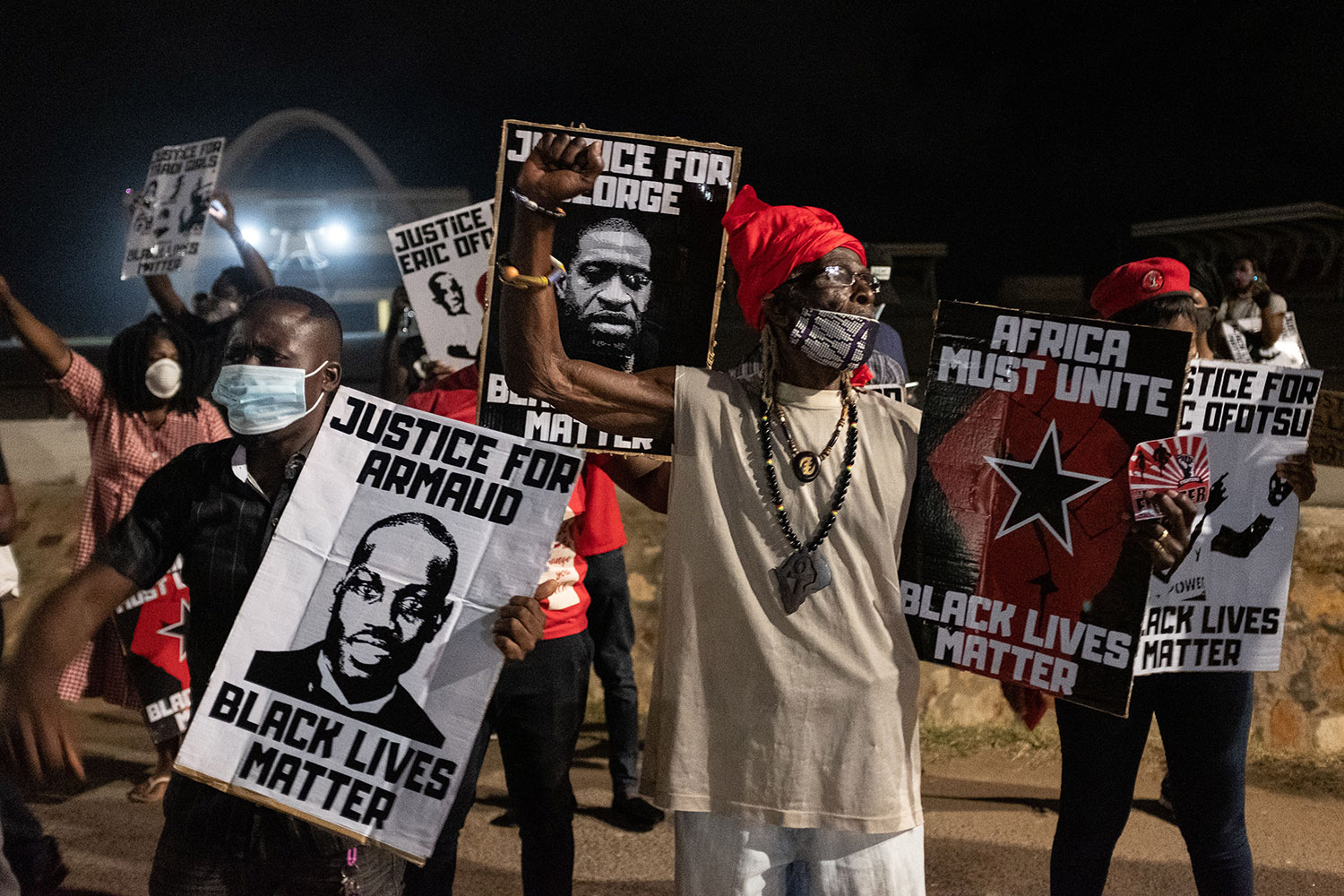 Activists raise their fists in Accra, Ghana, on June 6 amid global protests against racism and police brutality in the United States.