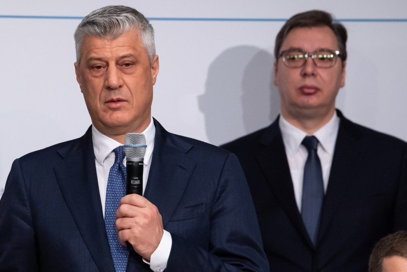 Kosovo President Hashim Thaci, left, and Serbian President Aleksandar Vucic