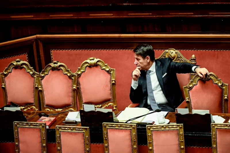 Italy's Prime Minister Giuseppe Conte waits while the new government's confidence vote is being held on September 10, 2019 during at the Senate in Rome.