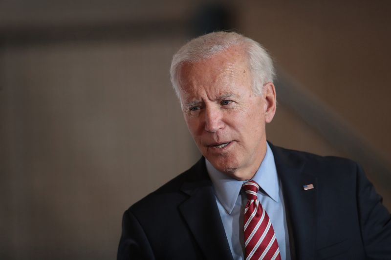 Democratic presidential candidate Joe Biden speaks to guests during a campaign stop in West Point, Iowa, on Oct. 23, 2019.