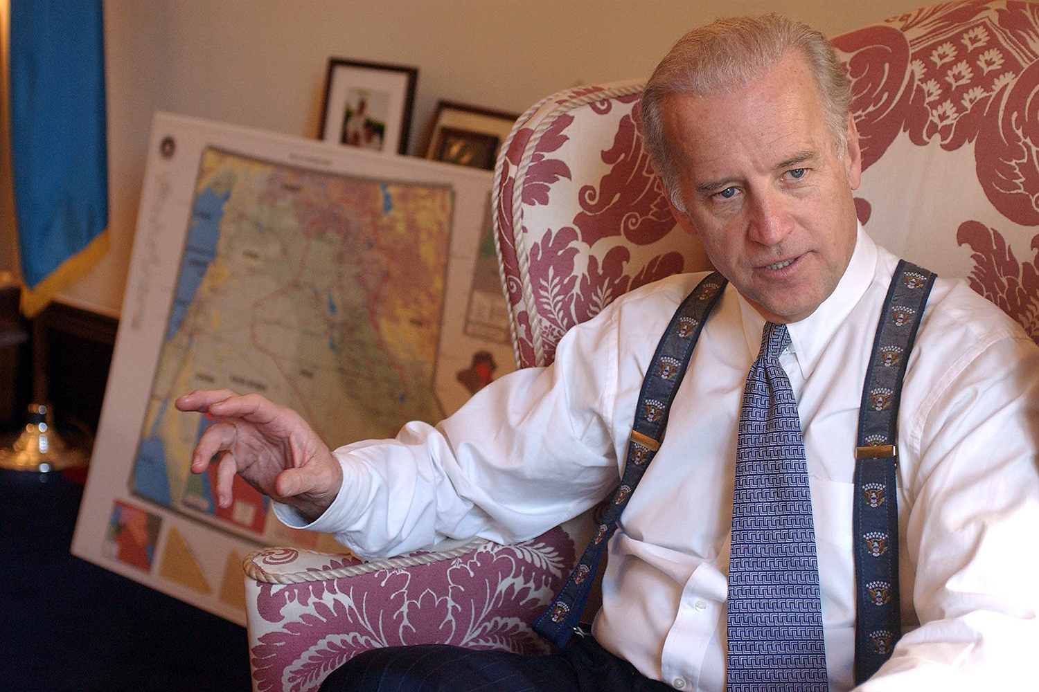 U.S. Sen. Joe Biden, then ranking Democrat on the Senate Foreign Relations Committee, speaks in his office Feb. 5, 2003, about the possibility of war with Iraq. Biden backed the war, a decision that's he's since called a mistake.