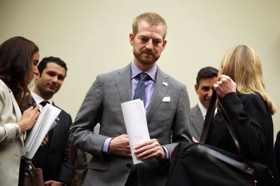 Ebola survivor Kent Brantly arrives at a congressional hearing before the House in Washington on Sept. 16, 2014. Brantly contracted Ebola while working as the medical director for Samaritan's Purse Ebola Care Center in Monrovia, Liberia. He was treated with the drug ZMapp nine days after falling ill and recovered.