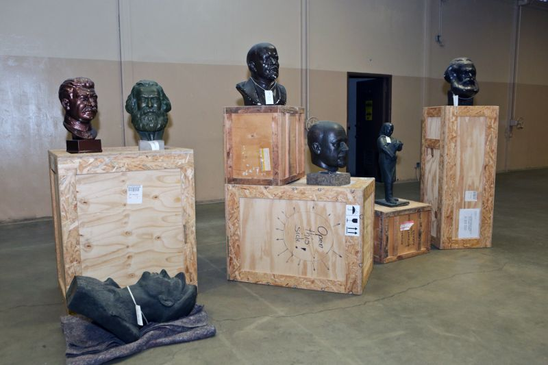 Sculptures of Vladimir Lenin and other Soviet-era statues and busts sit in a former National Guard Armory in Culver City, California—now the permanent home of the Wende Museum—in 2014.