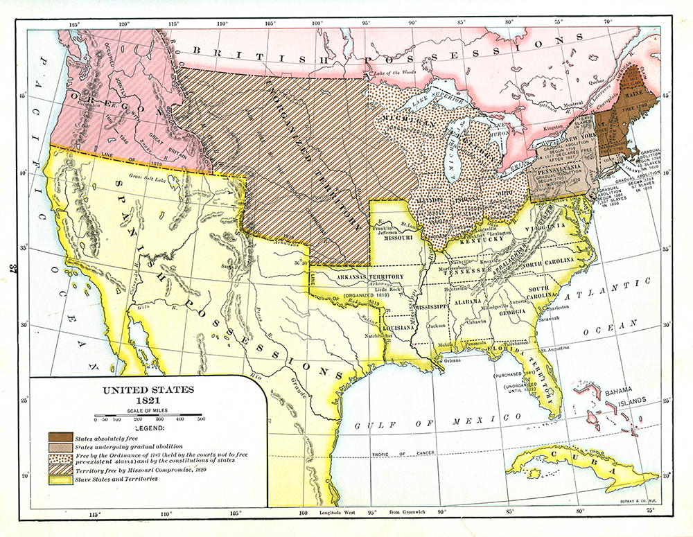 A map shows the status of slavery in the United States in 1821. Published in 1920, it shows Free States, states undergoing gradual abolition, free states via the Ordinance of 1787, free states via the Missouri Compromise, and slave-holding states.