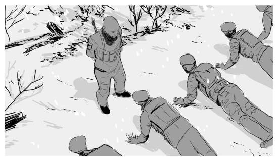 In winter, Shaikh leads recruits in a training camp in the Ontario wilderness.