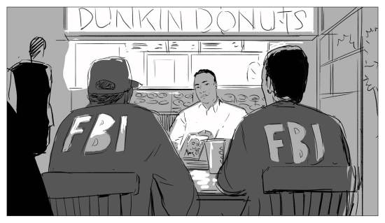 The initial meeting between Jamali and FBI agents at a neighborhood Dunkin' Donuts.