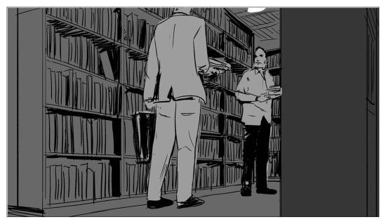 An imagined portrayal of the meeting with a Russian customer in the Jamalis' bookstore.