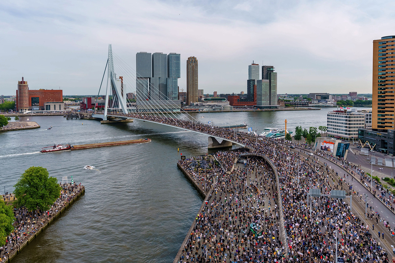 People gather on Erasmus Bridge in the Netherlands during a protest June 3 in solidarity with Americans demonstrating over the death of George Floyd. MARCO DE SWART/ANP/AFP via Getty Images