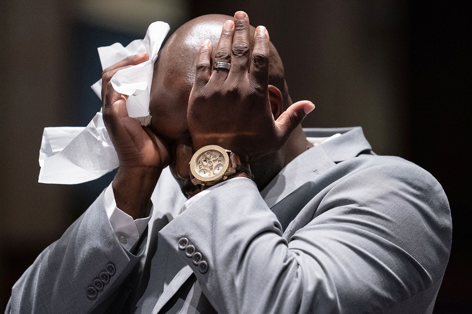 Philonise Floyd, the brother of George Floyd, who was killed last month by police, wipes away tears as he testifies before the House Judiciary Committee in Washington, D.C., on June 10 about policing practices and law enforcement accountability. ERIN SCHAFF/POOL/AFP via Getty Images