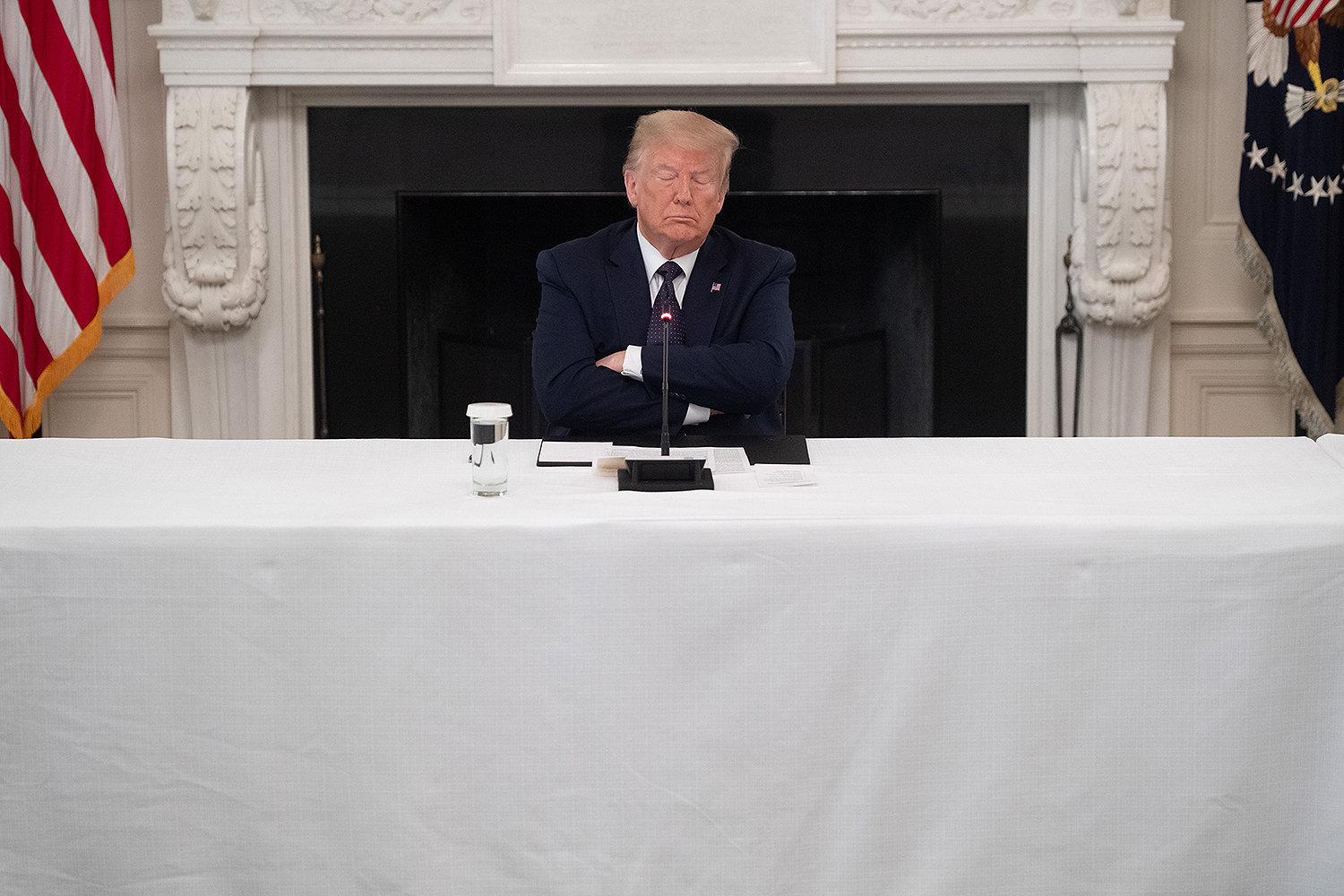 U.S. President Donald Trump hosts a roundtable discussion with law enforcement officials on police and community relations in the White House in Washington, D.C., on June 8. SAUL LOEB/AFP via Getty Images