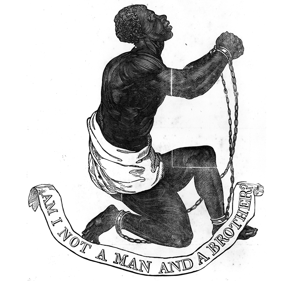 The 1774 seal used by early abolitionist societies in England and the United States.