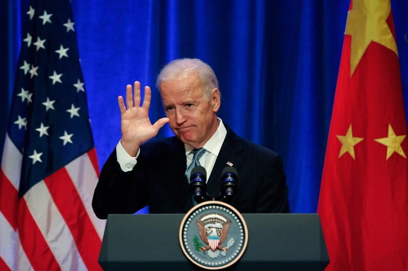 Then-U.S Vice President Joe Biden attends a business leader breakfast at the St. Regis Beijing hotel in China on Dec. 5, 2013.