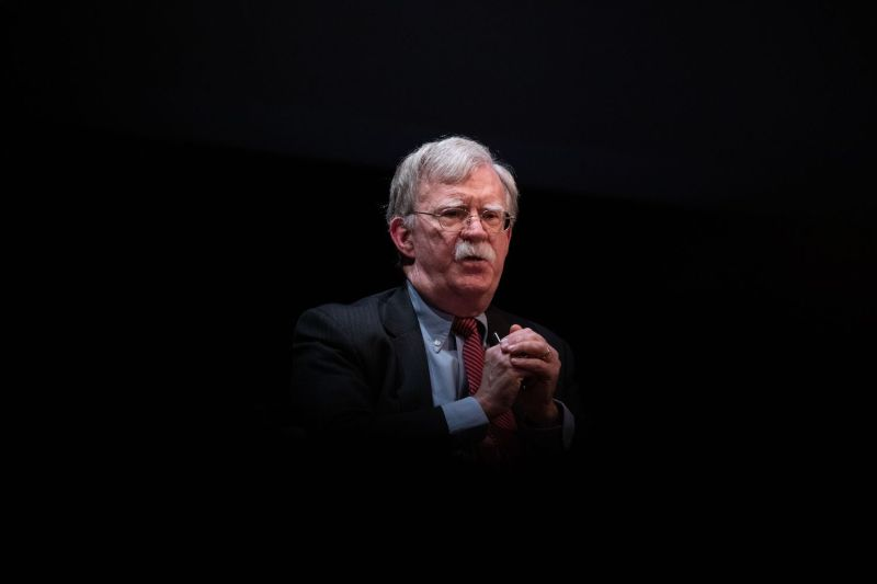 Former U.S. National Security Advisor John Bolton speaks on stage during a public discussion at Duke University in Durham, North Carolina on February 17.