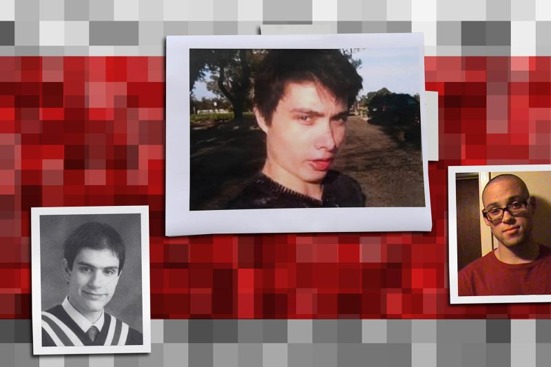 Alek Minassian (left), accused of the 2018 Toronto van attack; Elliot Rodger (center), a member of early incel communities who killed six people in California; and Chris Harper-Mercer, who cited Rodger in a manifesto found after he killed nine in Oregon.
