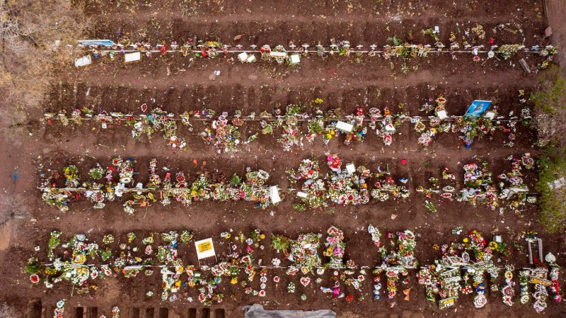An aerial view of graves at the General Cemetery in Santiago, Chile on June 23, 2020 amid the novel coronavirus pandemic.