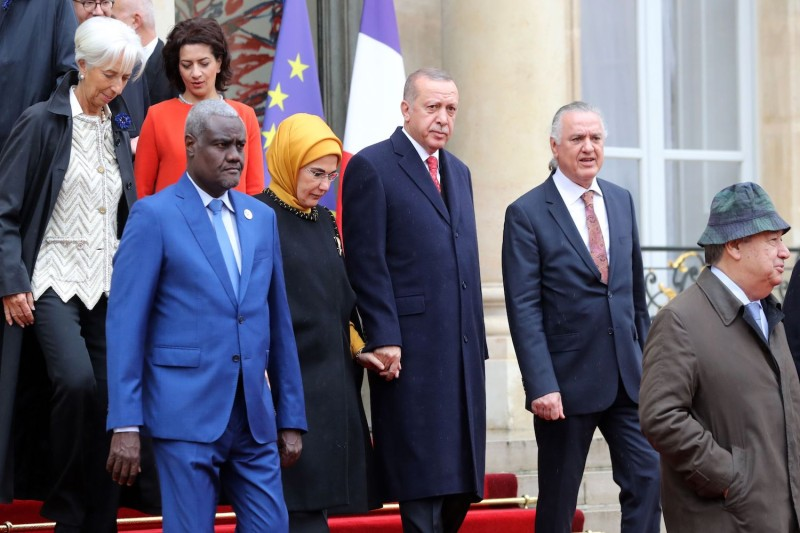 Turkish President Recep Tayyip Erdogan (center) with his wife, Emine Erdogan, followed by then-International Monetary Fund Director Christine Lagarde (left) in Paris on Nov. 11, 2018, prior to commemorations marking the 100th anniversary of the  armistice ending World War I.