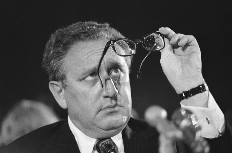 U.S. Secretary of State Henry Kissinger appears before the Senate Appropriations Committee in Washington on April 15, 1975, to urge approval of President Gerald Ford's request for military and humanitarian aid to South Vietnam.