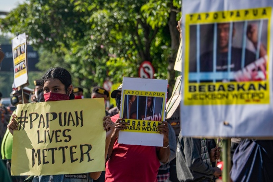 Papuan students take part in a rally in Surabaya, Indonesia, on June 16.