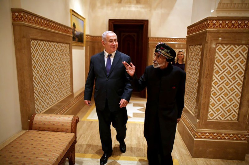 Israeli Prime Minister Binyamin Netanyahu meets with Sultan of Oman Sayyid Qaboos bin Said Al Said in Muscat, on Oct. 26, 2018.
