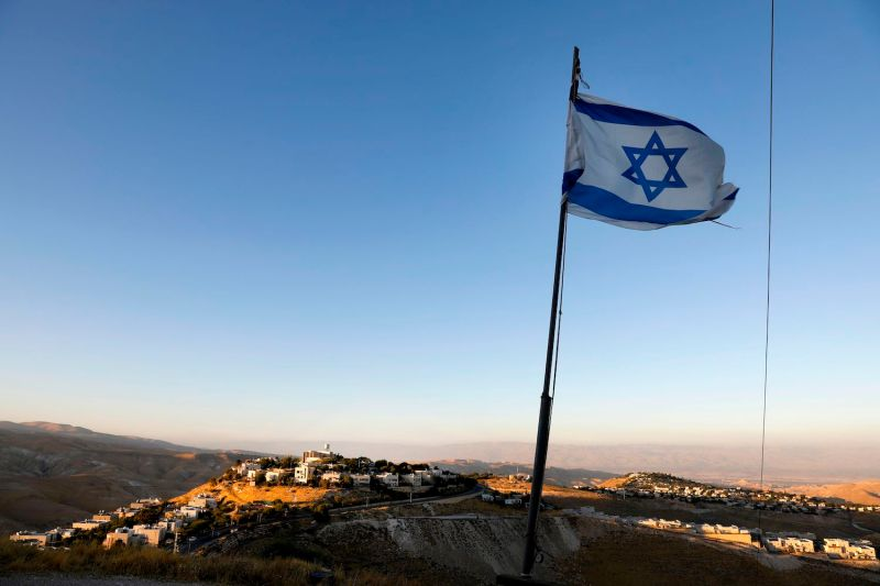 An Israeli flag flies near the Kfar Adumim settlement in the West Bank.