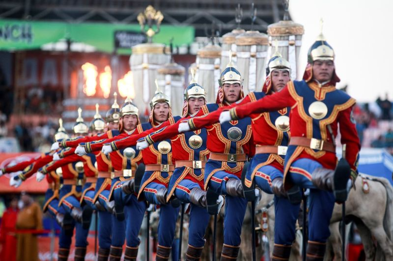 Mongolian soldiers attend the traditional Nadaam festival in Ulaanbaatar on July 12, 2017.