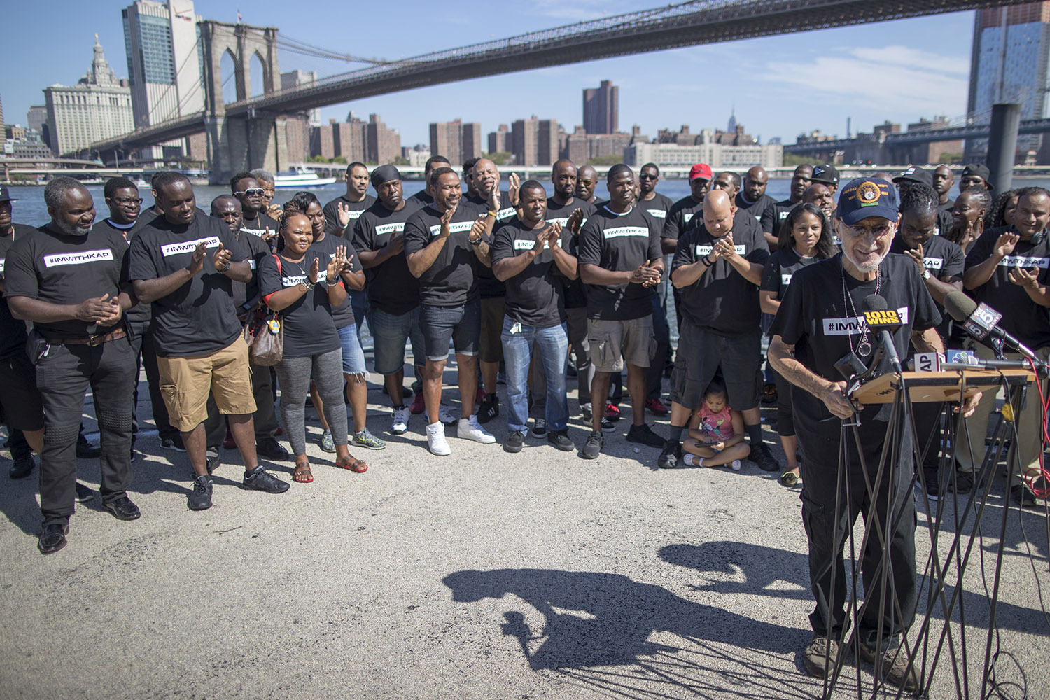 Serpico is surrounded by members of law enforcement as he speaks during a rally to show support for activist and former NFL quarterback Colin Kaepernick in New York on Aug. 19, 2017.
