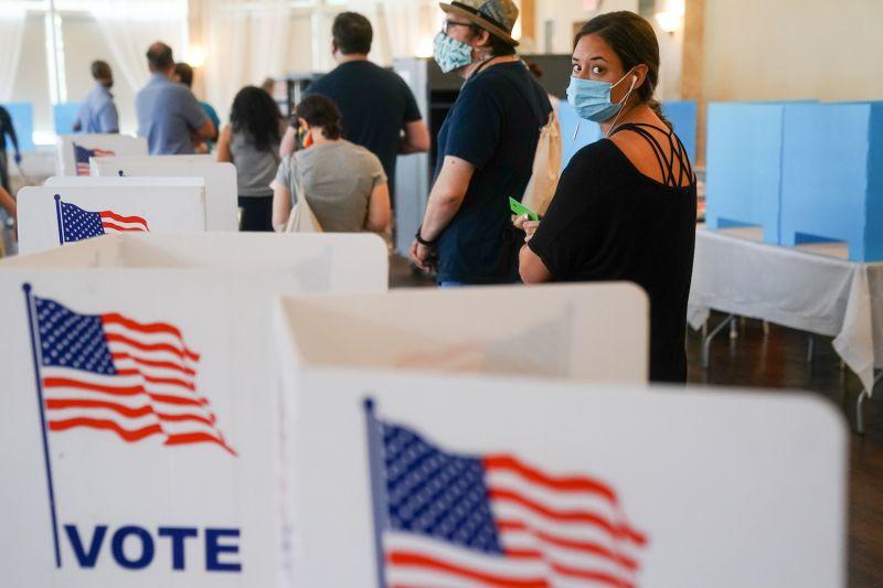 People wait in line to vote on June 9, 2020 in Atlanta, Georgia.