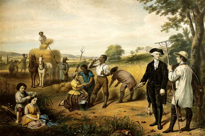 George Washington and some of the more than 300 enslaved people who worked at Mount Vernon