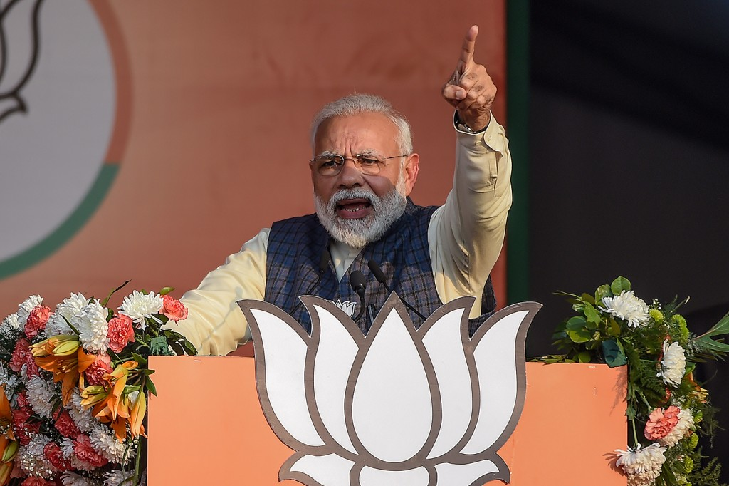 Indian Prime Minister Narendra Modi speaks at a rally for the upcoming state elections in New Delhi on Feb. 3.