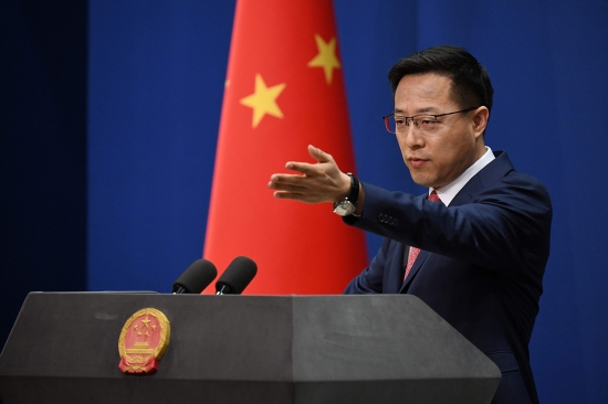 Chinese Foreign Ministry spokesperson Zhao Lijian takes a question at a media briefing in Beijing on April 8.