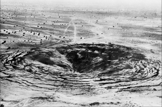 A crater marks the site of the first Indian underground nuclear test, conducted May 18, 1974, at Pokhran in the desert state of Rajasthan.