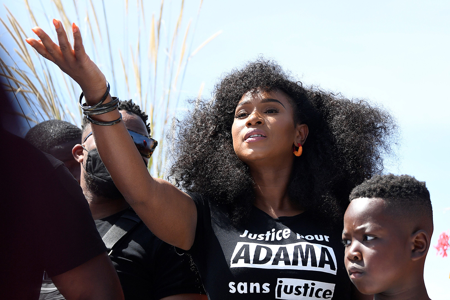Assa Traore, the sister of Adama Traore, who died in police custody, takes part in a march to call for justice in Beaumont-sur-Oise, outside Paris, on July 18. BERTRAND GUAY/AFP via Getty Images