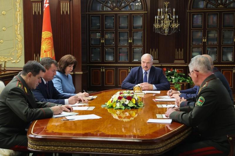 Belarusian President Aleksandr Lukashenko holds a meeting