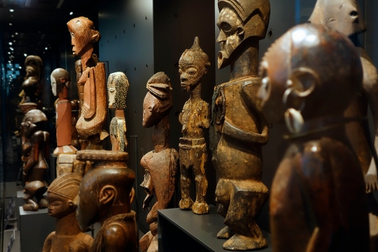Wooden African statuettes are housed in the Royal Museum for Central Africa, an ethnography and natural history museum in Belgium.