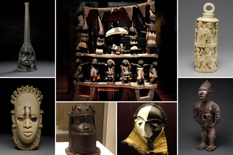 "Hundreds of thousands of historical artworks from Africa remain outside the continent, including (clockwise from top left): an Oduduwa helmet mask made of bronze from Benin City in Nigeria, housed at the British Museum in London; the ""Royal Seat of the Kingdom of Dahomey"" from Benin Republic, at the Quai Branly Museum in Paris; an ivory receptacle with figurative relief and stopper from the Loango coast, part of modern-day Republic of Congo, at the Metropolitan Museum of Art in New York; a Central African power figure from the coast of Congo and Angola, now at the Met; a Mbangu mask from southern Bandundu, Democratic Republic of the Congo, housed at the Royal Museum for Central Africa in Tervuren, Belgium; a head of a royal ancestor from the former Benin Kingdom, a part of modern-day Nigeria, displayed at the Quai Branly; and a carved ivory pendant mask of Queen Idia, inlaid with iron and bronze, from Benin Kingdom, now at the British Museum."