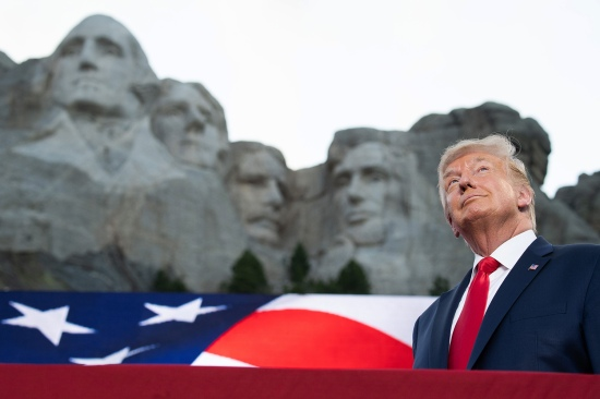 U.S. President Donald Trump arrives for Independence Day events at Mount Rushmore National Memorial in Keystone, South Dakota, on July 3.