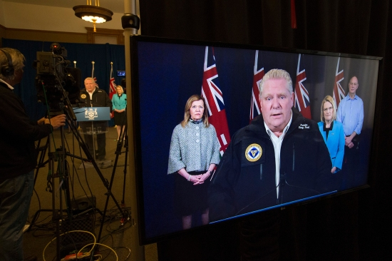 Ford holds his daily virtual coronavirus press conference with reporters at the Ontario Legislative Building on May 2.