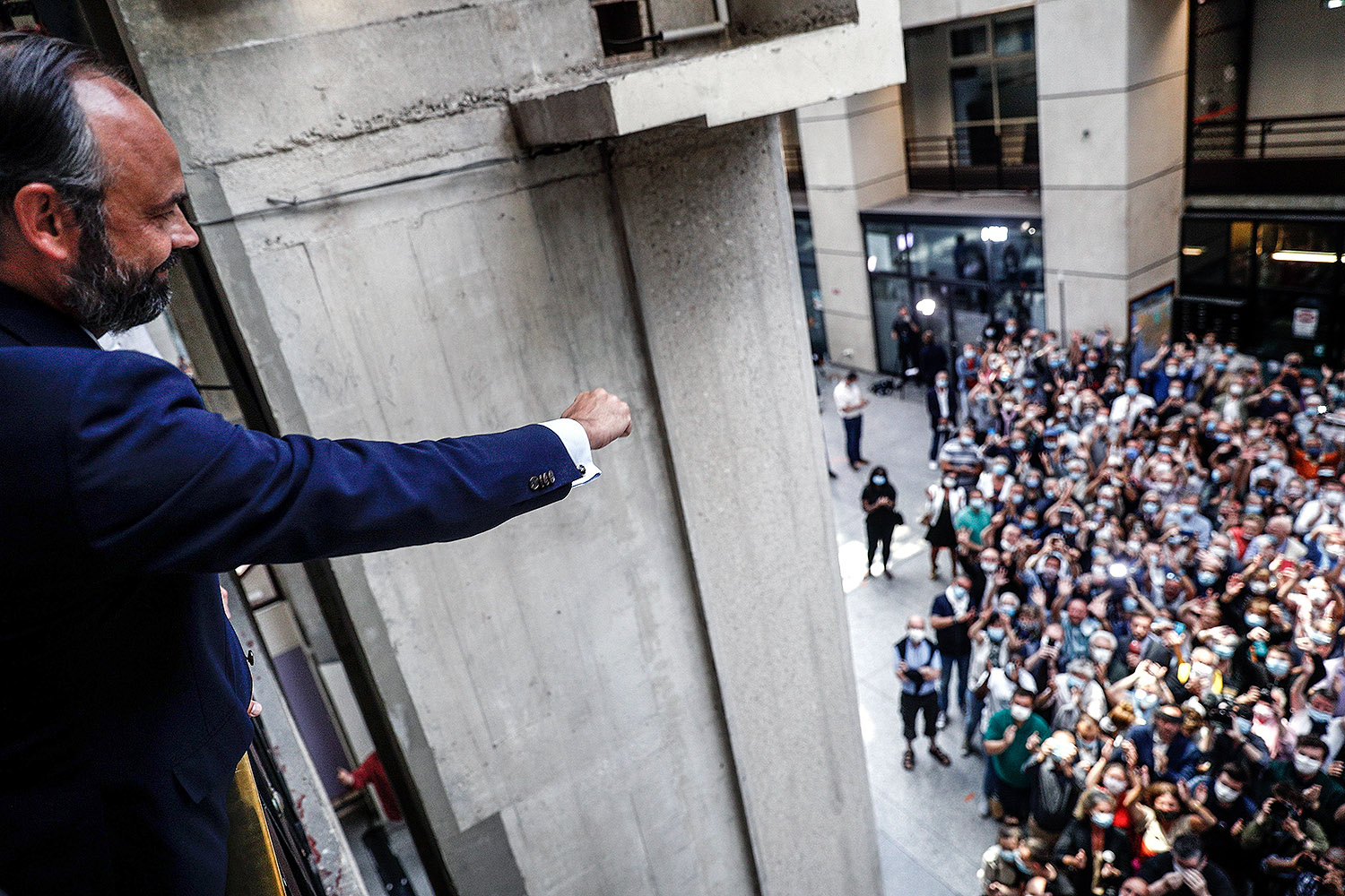 French Prime Minister Édouard Philippe greets his supporters after winning the second round of the Le Havre mayoral elections June 28. SAMEER AL-DOUMY/POOL/AFP via Getty Images