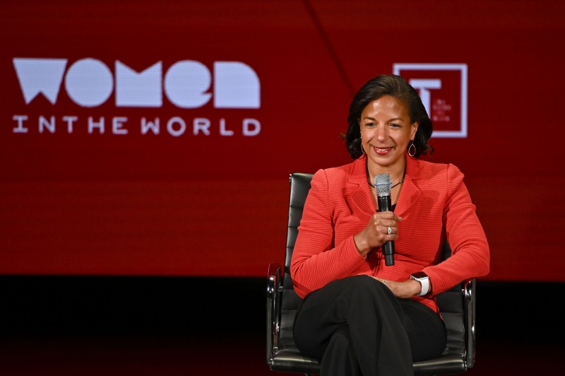 Susan Rice speaks at the 10th Anniversary Women in the World Summit at the Lincoln Center in New York City on April 11, 2019.