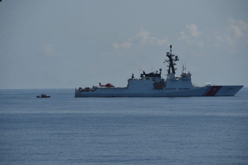 The U.S. Coast Guard cutter Bertholf maneuvers during a joint search and rescue operation with the Philippine coast guard near the disputed Scarborough Shoal on May 14, 2019.