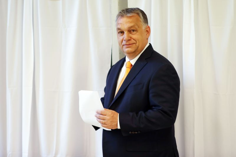 Hungarian Prime Minister Viktor Orban poses before casting his vote for the European elections at a polling station in the XII. district of Hungarian capital Budapest, on May 26, 2019.