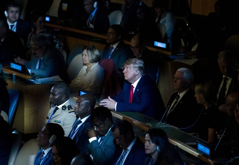 US President Donald Trump attends the UN Climate Action Summit on Sept. 23, 2019 at the United Nations Headquaters in New York City.