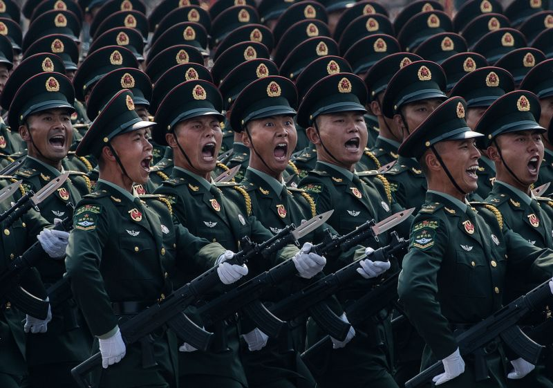 Chinese soldiers march during a military parade on Oct. 1, 2019 in Beijing.