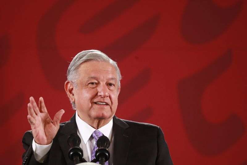 Mexican President Andrés Manuel López Obrador speaks with the press on November 13, 2019 in Mexico City.