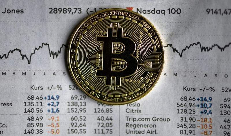 The photo shows a physical imitation of a bitcoin in Dortmund, western Germany, on Jan. 27.