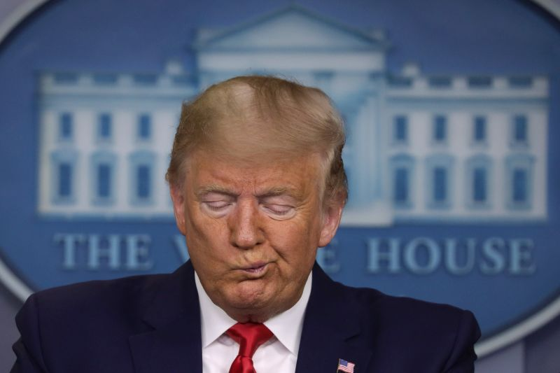 President Donald Trump pauses during a news conference at the James Brady Press Briefing Room at the White House Feb. 29. in Washington.