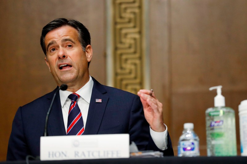 John Ratcliffe testifies during his nomination hearing on Capitol Hill in Washington, DC, on May 5.